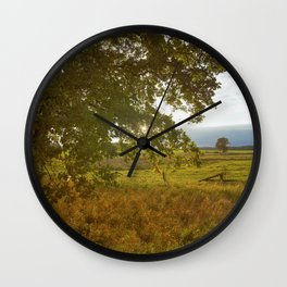 Autumn Countryside Landscape Sunset Wall Clock