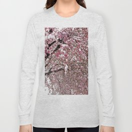 Elegant pink white nature snow cherry blossom floral Long Sleeve T-shirt