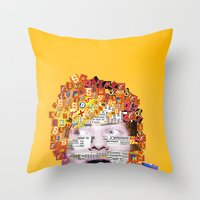 ed sheeran Throw Pillows featuring Ed Sheeran by Jack