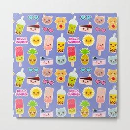 Hello Summer Pineapple, cherry smoothie cup, ice cream, sun, cat, cake, hamster. Kawaii cute face. Metal Print