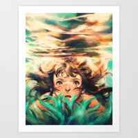 ponyo Art Prints featuring The River by Alice X. Zhang