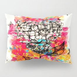 Abstract flower's face, colors Pillow Sham