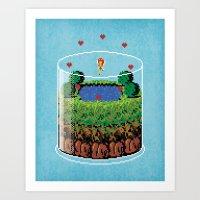 hyrule Art Prints featuring Hyrule Terrarium by Jude Buffum