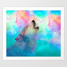 Breathing Dreams Like Air (Wolf Howl Abstract) Art Print