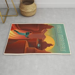 Vintage Adventure Travel Olympus Mons Awaits Rug