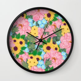 Trendy Pink Peonies Yellow Sunflowers Watercolor paint Wall Clock