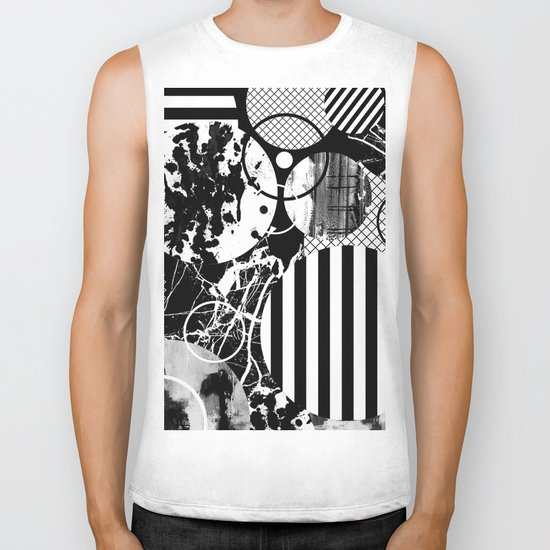 Black And White Choas - Mutli Patterned Multi Textured Abstract Biker Tank