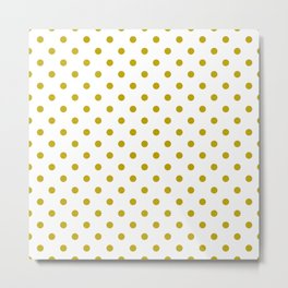 White and Gold Polka Dots Metal Print