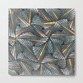 Mesh (Grey and Copper) Metal Print