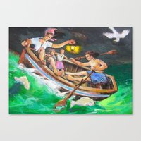 rowing Canvas Prints featuring Rowing  by Piubeniart