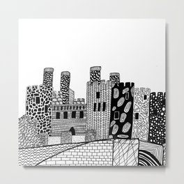 Wales Conwy Castle Patterned Illustration Metal Print