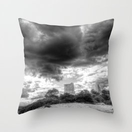 Storm Over The Castle Throw Pillow