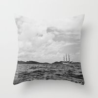 pirate ship Throw Pillows featuring PIRATE SHIP by Eliesa Johnson