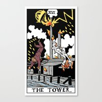 martell Canvas Prints featuring XVI-The Tower by Benjamin Mackey