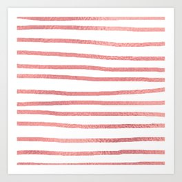 Simply Drawn Stripes Warm Rose Gold on White Art Print