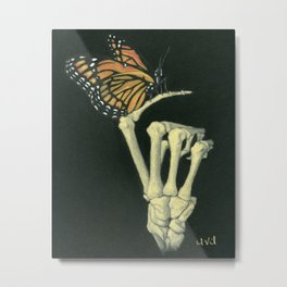 Butterfly & Bones Metal Print
