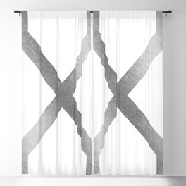Crossed X Silver Blackout Curtain