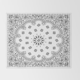 Bandana - White - Paisley - Southwestern Throw Blanket