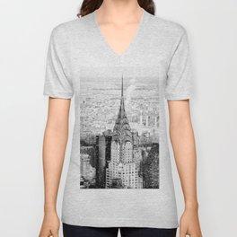 Snow - New York City - Chrysler Building Unisex V-Neck