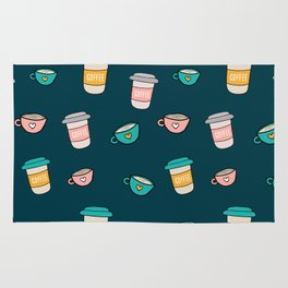 Happy coffee cups and mugs in dark-blue background Rug