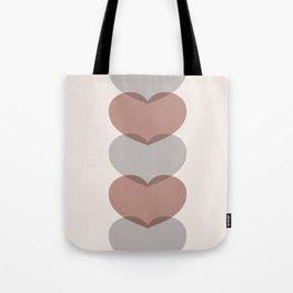 Hearts - Cocoa & Gray Tote Bag