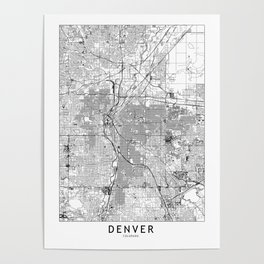 Denver White Map Poster