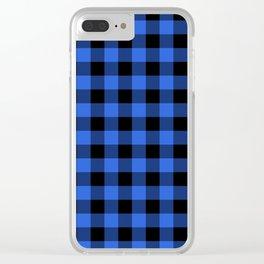 Royal Blue and Black Lumberjack Buffalo Plaid Fabric Clear iPhone Case