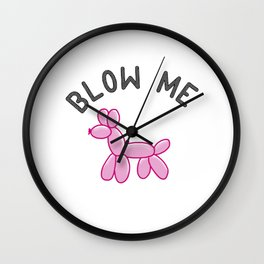 Pink Balloon Dog Wall Clock