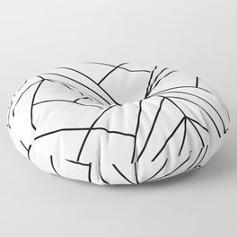 Modern geometrical black white abstract stripes Floor Pillow