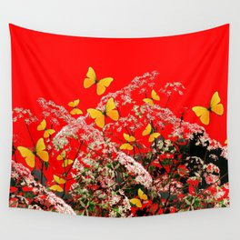 RED GARDEN ART OF YELLOW BUTTERFLIES & LACEY FLOWERS Wall Tapestry