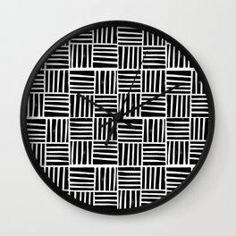 Linocut black and white minimal pattern stripes criss cross squares Wall Clock