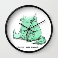 dino Wall Clocks featuring Dino by Schewy