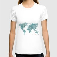 vintage map T-shirts featuring World Map Blue Vintage by City Art Posters