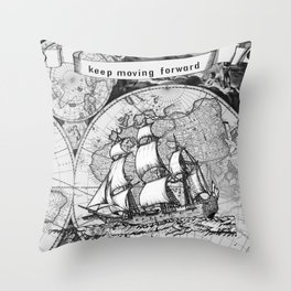 ship on a background map .  keep moving forward ( https://society6.com/vickonskey/collection ) Throw Pillow