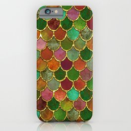 Greens & Gold Mermaid Scales iPhone Case
