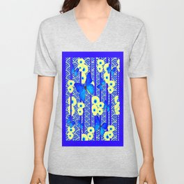 Blue Butterflies Cream-Blue Asia Style Modern Art Unisex V-Neck