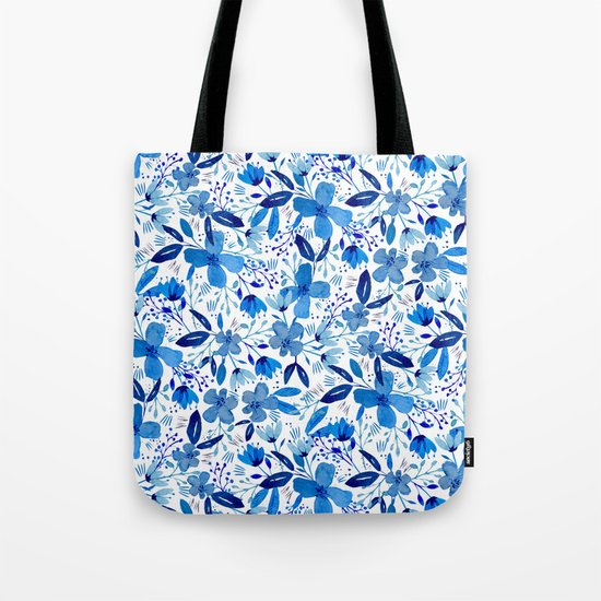Blue Watercolour Florals Tote Bag