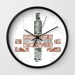 Emblem racing club in retro style Wall Clock