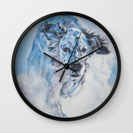 English Setter in Snow dog art from an original painting by L.A.Shepard Wall Clock