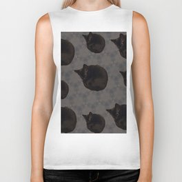 Black cat photo pattern Biker Tank