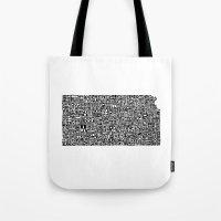 kansas Tote Bags featuring Typographic Kansas by CAPow!