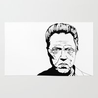 christopher walken Area & Throw Rugs featuring Christopher Walken by Sheena White for Winsome Gallery