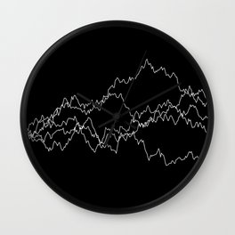 5 paths of discrete Brownian motion - black and white Wall Clock