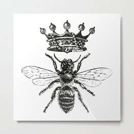 Queen Bee | Vintage Bee with Crown | Black and White | Metal Print