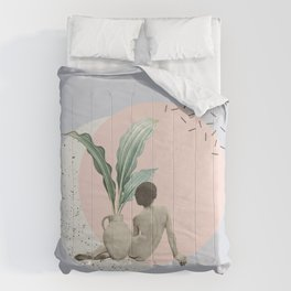 nude woman by vase collage art Comforters