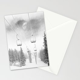 Ski Lift Moon Break // Riding the Mountain at Copper Colorado Luna Sky Peeking Foggy Clouds Stationery Cards