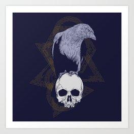 Dark Vintage Styled Macabre Crow and Skull Ponder Life Art Print