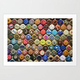 Beer Bottle Caps/Tops Art Print