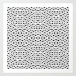 Black and White Abstract Rhombus Seamless Pattern 1 Art Print
