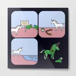 Unicorn And Narwhals As Triceratops Party Metal Print